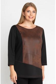 """Блуза """"Лина"""" 4157 (Коричневый, черный)"""